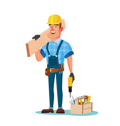 Construction worker building timber frame vector