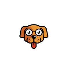 Creative pet dog head geek eyeglasses logo vector