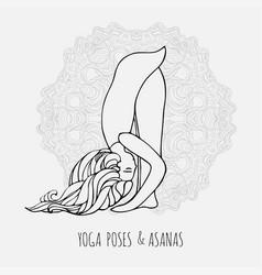 Cute girl doing yoga yoga poses and asanas in vector