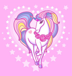 cute rainbow unicorn a heart on a swarm backgrou vector image