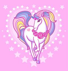 cute rainbow unicorn a heart on a swarm backgrou vector image