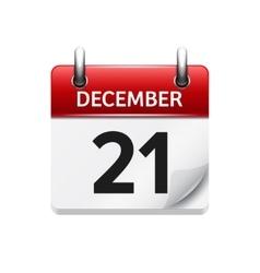 December 21 flat daily calendar icon vector