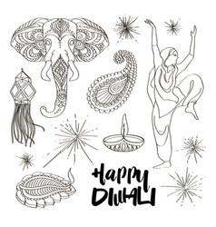 Diwali icons set vector