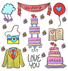 Doodle of object wedding party vector