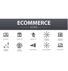 Ecommerce simple concept icons set contains vector