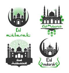 Eid mubarak muslim festival greetings set vector
