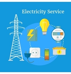 Electricity Service Flat Design vector image