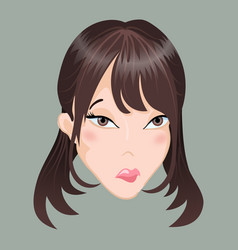 Emoticon asia girl sadness vector