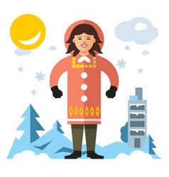 eskimo flat style colorful cartoon vector image
