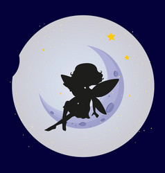 Fairy silhouette on moon background vector
