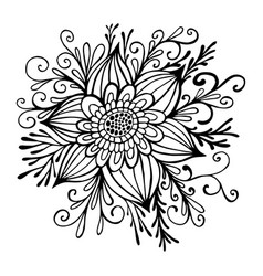flower framed leaves and buds coloring page vector image