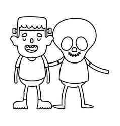 frankenstein and skeleton costume kids trick vector image