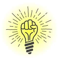 Fresh idea lamp in the shape of a hand vector image