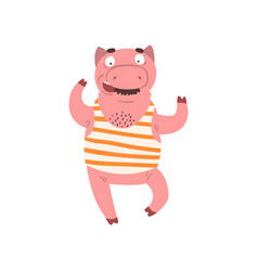 funny male pig wearing striped singlet farm vector image