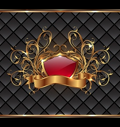 Gold elegance frame with heraldic shield vector