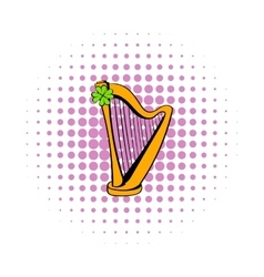 Golden harp and clover icon comics style vector