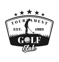 golf tournament shield emblem with golfer vector image