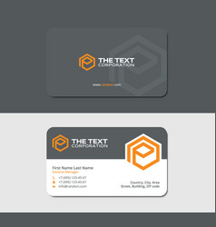 Gray business cards with orange hexagon letter p vector