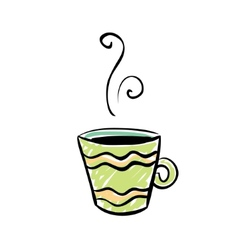 Green cup Sketchy design vector