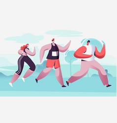 Group male female characters running marathon vector