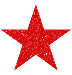 grunge is a red big star shabby scratched vector image