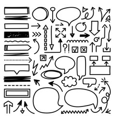 hand drawn arrow mark icons vector image