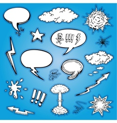 hand drawn cartoon and bubbles collection vector image