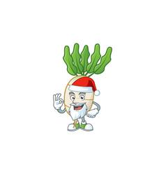 Happy daikon in santa costume mascot style vector