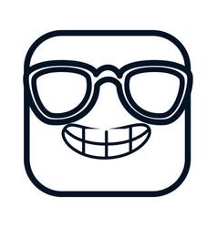 happy emoji with sunglasses kawaii character vector image