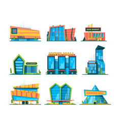 hypermarket flat shopping building mall retail vector image
