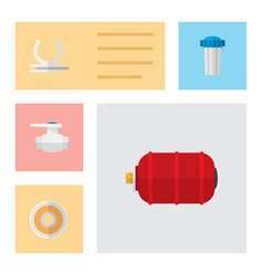 icon flat industry set of pump valve water tank vector image