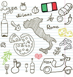 Italy doodles elements Hand drawn set with pizza vector image