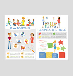 Kindergarten class and students - colorful vector