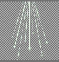 laser beams with stars and sparks green color vector image