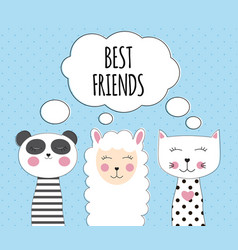 little cute llama panda and cat for card and vector image