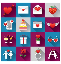Love Objects Icons Set vector image