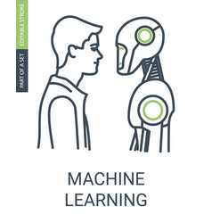 machine learning icon with editable stroke and vector image
