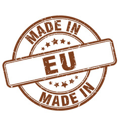 Made in eu brown grunge round stamp vector
