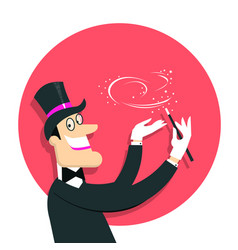 Magician doing a trick with magic wand background vector