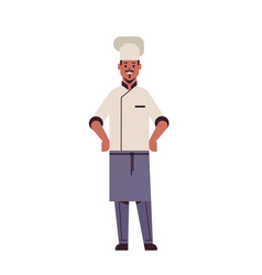 Male professional chef cook standing pose african vector