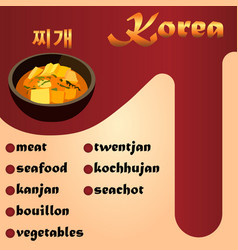 meat korean soup jjigae vector image
