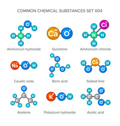 molecular structures of common chemical substances vector image