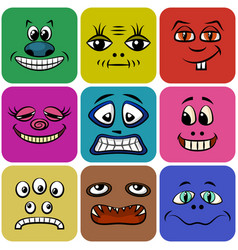 monster smileys set vector image