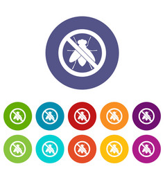 No fly sign set icons vector