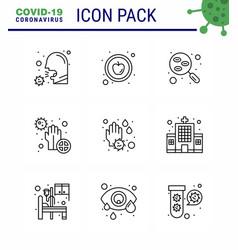 novel coronavirus 2019-ncov 9 line icon pack vector image