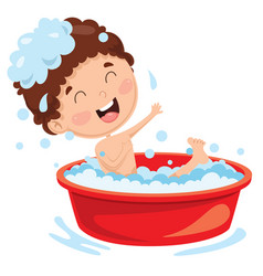 of kid having bath vector image