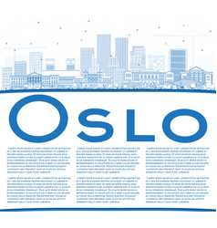 Outline oslo norway skyline with blue buildings vector