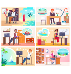 people at work dream about vacation at seaside vector image
