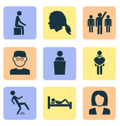 People icons set with speaker human falling vector