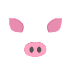 pig face nose and ears vector image
